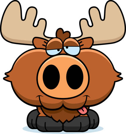 goofy: A cartoon illustration of a moose with a goofy expression.