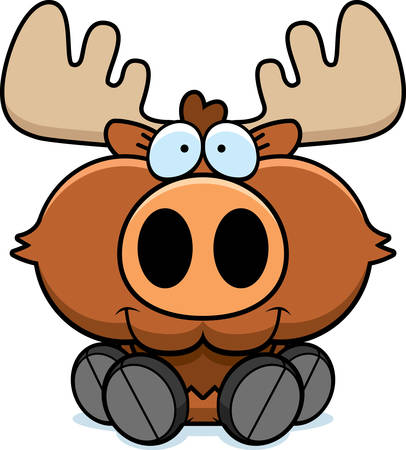 A cartoon illustration of a moose sitting and smiling.