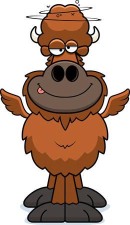 A cartoon illustration of a winged buffalo looking drunk. Illustration