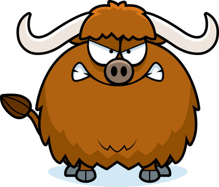 yak: A cartoon illustration of a yak looking angry.