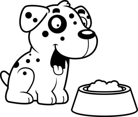 dalmatian: A cartoon illustration of a Dalmatian with a bowl of food. Illustration
