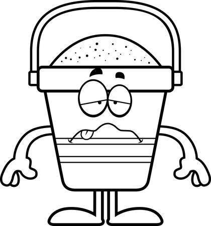nauseous: A cartoon illustration of a beach bucket looking sick. Illustration