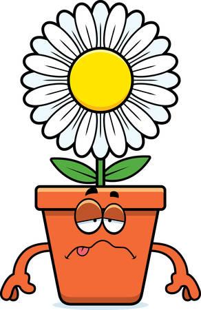 nauseous: A cartoon illustration of a flowerpot looking sick.