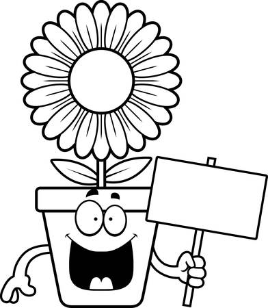 bloempot: A cartoon illustration of a flowerpot holding a sign. Stock Illustratie