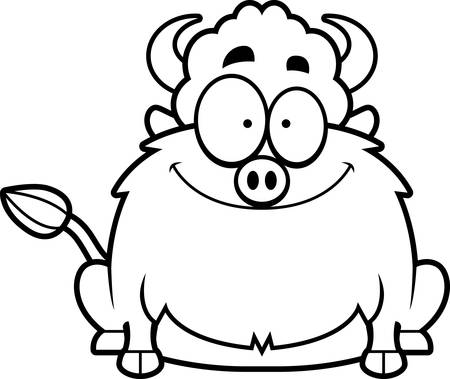 bison: A cartoon illustration of a bison smiling.