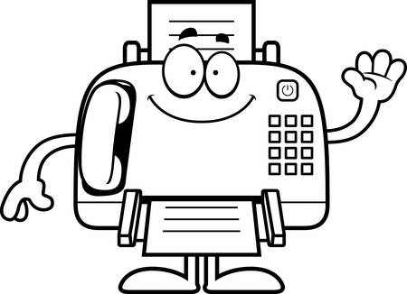 fax machine: A cartoon illustration of a fax machine waving. Illustration