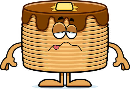 nauseous: A cartoon illustration of a stack of pancakes looking sick.