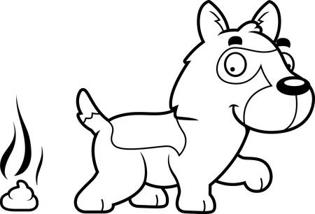 feces: A cartoon illustration of a German Shepherd pooping.