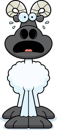 rams horns: A cartoon illustration of a ram looking scared. Illustration