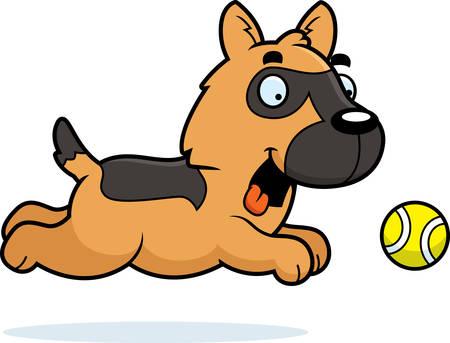 alsatian: A cartoon illustration of a German Shepherd chasing a ball.