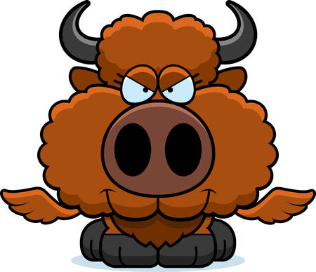 A cartoon illustration of a winged buffalo with a sly expression.