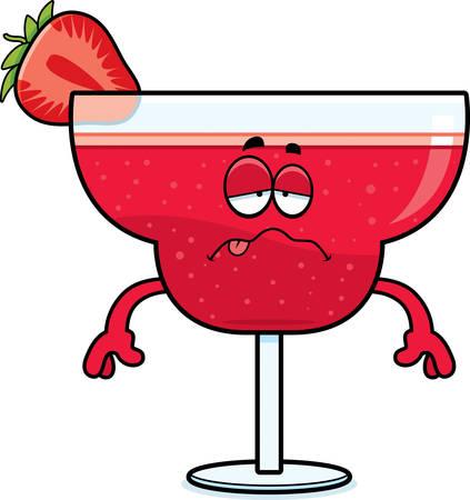 nauseous: A cartoon illustration of a strawberry daiquiri looking sick.