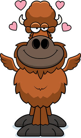 A cartoon illustration of a winged buffalo with an in love expression.