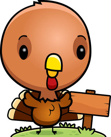 wooden post: A cartoon illustration of a baby turkey with a wooden sign post.