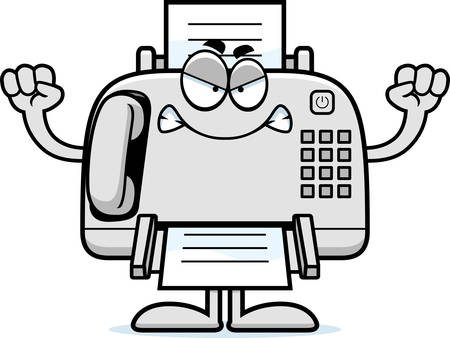 A cartoon illustration of a fax machine looking angry.