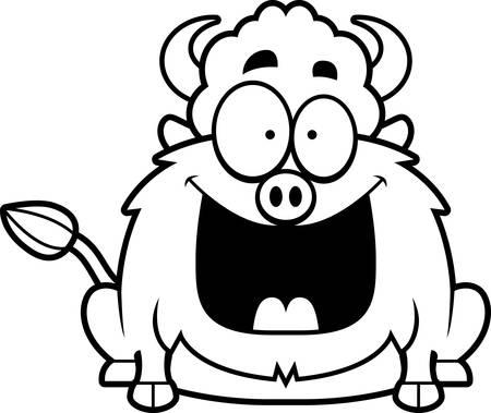 smirking: A cartoon illustration of a bison looking happy. Illustration