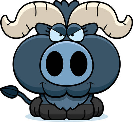 devious: A cartoon illustration of a little blue ox with a sly expression. Illustration
