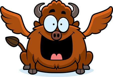 smirking: A cartoon illustration of a buffalo with wings looking happy. Illustration