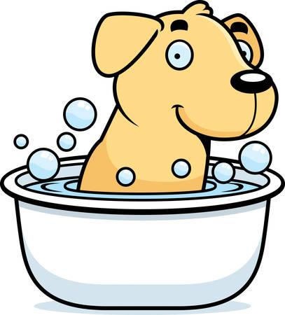 labrador: A cartoon illustration of a Labrador Retriever taking a bath.