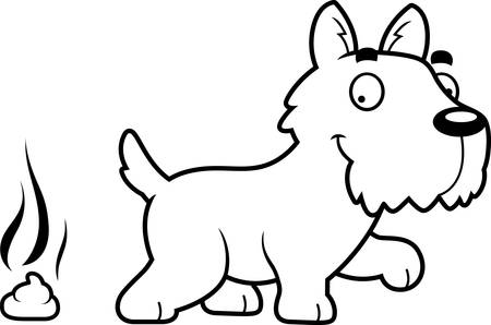 feces: A cartoon illustration of a Scottie pooping.