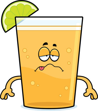 A cartoon illustration of a beer with lime looking sick.
