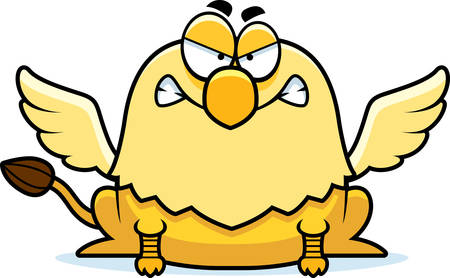 griffon: A cartoon illustration of a griffin looking angry. Illustration