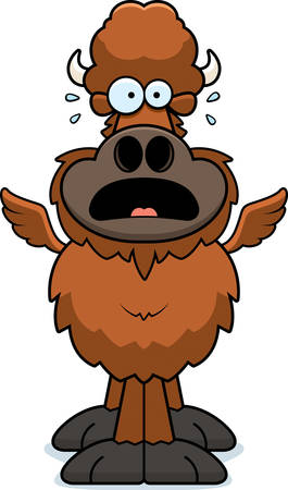 A cartoon illustration of a winged buffalo looking scared.
