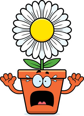 A cartoon illustration of a flowerpot looking scared. Illustration