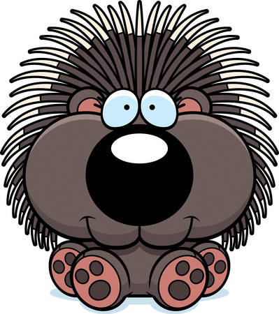 porcupine: A cartoon illustration of a porcupine sitting and smiling.