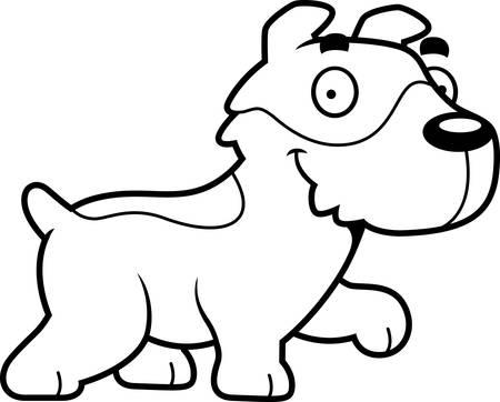 jack russell: A cartoon illustration of a Jack Russell Terrier walking. Illustration