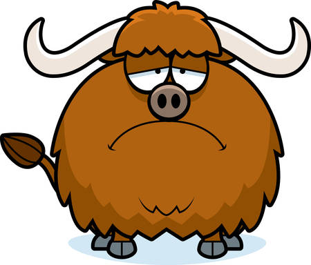 yak: A cartoon illustration of a yak looking sad.