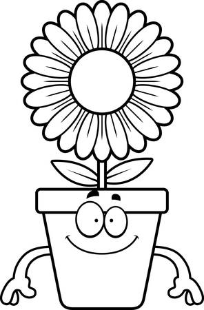 bloempot: A cartoon illustration of a flowerpot looking happy.