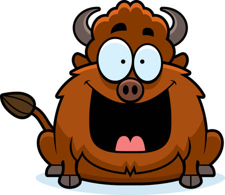 bison: A cartoon illustration of a bison looking happy. Illustration