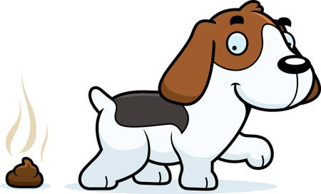 A cartoon illustration of a Beagle pooping.