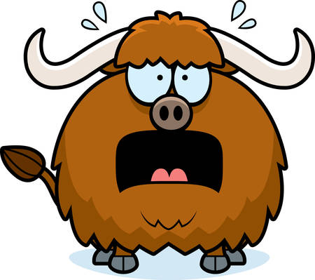 yak: A cartoon illustration of a yak looking scared.