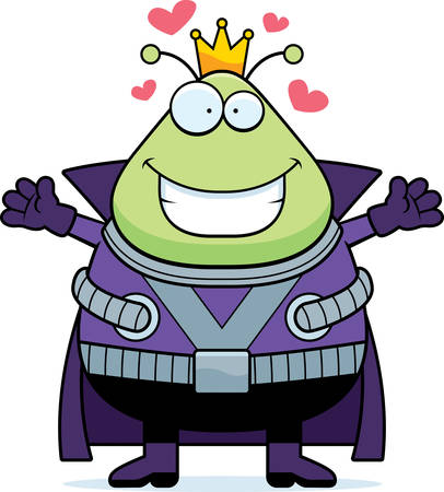 spacesuit: A cartoon illustration of a Martian king ready to give a hug.
