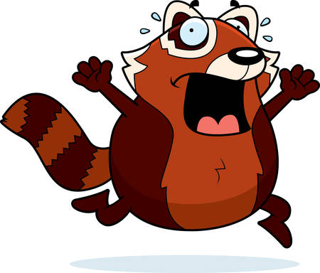 A cartoon illustration of a red panda running in a panic.