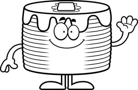 A cartoon illustration of a stack of pancakes waving. Banco de Imagens - 44751978