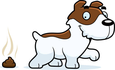 A cartoon illustration of a Jack Russell Terrier pooping.