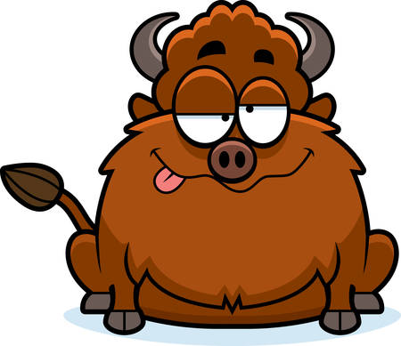 A cartoon illustration of a bison looking drunk.