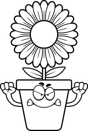 flowerpot: A cartoon illustration of a flowerpot looking angry.