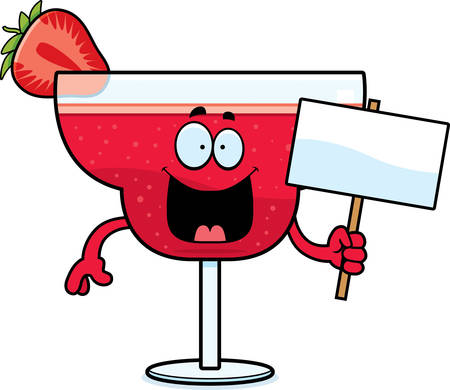 daiquiri: A cartoon illustration of a strawberry daiquiri holding a sign.