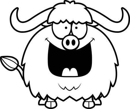 yak: A cartoon illustration of a yak looking happy. Illustration
