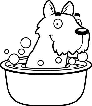 A cartoon illustration of a Scottie taking a bath. Illustration