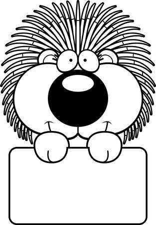 porcupine: A cartoon illustration of a porcupine with a white sign.