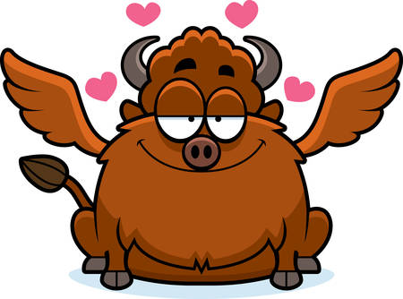 infatuated: A cartoon illustration of a buffalo with wings in love.
