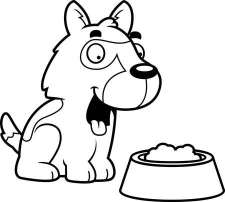alsatian: A cartoon illustration of a German Shepherd with a bowl of food. Illustration