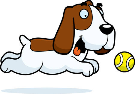 bloodhound: A cartoon illustration of a Basset Hound chasing a ball. Illustration