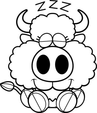 A cartoon illustration of a buffalo taking a nap.