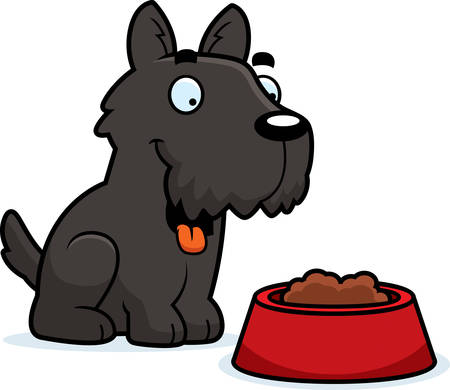 A cartoon illustration of a Scottie with a bowl of food. Illustration